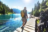 Hike to turquoise waters of picturesque Garibaldi Lake near Whistler, BC, Canada. Very popular hike  poster