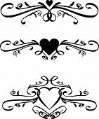Set of Vector heart Scrolls
