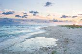 Empty Sea Coast Beach Landscape With Sunset Cloudy Sky poster