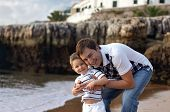 Happy Father And Son Having Fun Outdoors poster