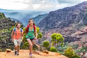 Young happy hikers people walking on Hawaii Waimea Canyon Trail, Kauai island, USA. Asian woman and  poster
