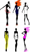 stock photo of female model  - Six Fashion Girls Silhouette - JPG