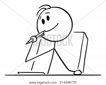 poster of Cartoon Stick Figure Drawing Conceptual Illustration Of Creative Man Or Businessman Or Writer Thinki