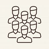 Staff Vector Line Icon. Colleagues, Partnership, Mutual Work. Teamwork Concept. Vector Illustration  poster