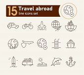 Travel Abroad Line Icon Set. Flight, Globe, City, Cruise. Vacation Concept. Can Be Used For Topics L poster