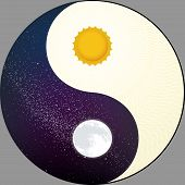 Cosmological Yin Yang With Sun And Moon. Night And Day. poster