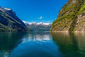 Geiranger Fjord, Beautiful Nature Norway. 15-kilometre 9.3 Mi Long Branch Off Of The Sunnylvsfjorden poster