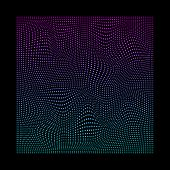 Glitched Square Of Small Particles In Neon Vivid Colors On Black Background. poster