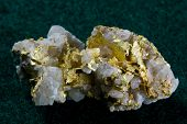 stock photo of quartz  - Natural gold in white quartz specimen  - JPG