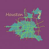 Flat Map Houston City. Texas Roads Continent, Geography, Graphic, poster