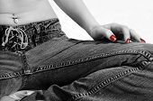 Teenage Girl, Sitting In Jeans