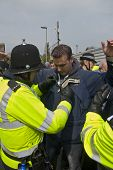 Plymouth Argyle Supporter Being Searched By Police At The League 1 Match Between Exeter City Fc And