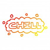 warm gradient line drawing of a cartoon chill symbol poster