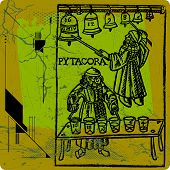 stock photo of pythagoras  - woodcut about the research work of ancient - JPG