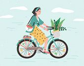 Happy Girl Dressed In Trendy Clothes Riding City Bicycle With Flower Bouquet In Front Basket. Adorab poster