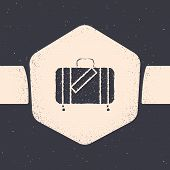 Grunge Suitcase For Travel And Stickers Icon Isolated On Grey Background. Traveling Baggage Sign. Tr poster