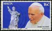 Malta - Circa 2001: A Stamp Printed In Malta Shows John Paul Ii (1920-2005), Statue, Circa 2001