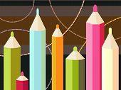 Seven Colored Pencils