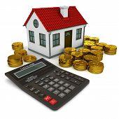 Casa com pilha de calculadora telhado vermelho do dólar moedas de ouro