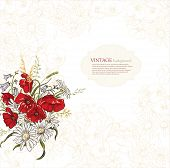 Elegance background with poppy flowers