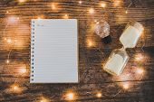 Time To Accomplish Your Goals Hourglass, Lightbulb And To Do List Notebook Surrounded By Fairy Light poster