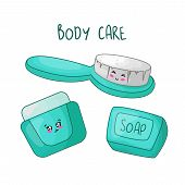 Cute Cartoon Set With Kawaii Beauty And Body Care Accessories - Body Brush, Soap And Cream Or Lotion poster