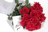 stock photo of valentines day card  - Bouquet of valentines day roses with note card - JPG