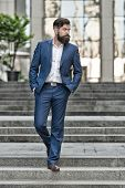 Business Success. Business Man Broker. Millionaire. Handsome Man Realtor In Fashion Suit. Modern Lif poster