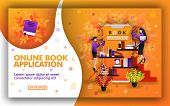 Vector Illustration Of Online Book Application. Technology Helps Find The Best Learning Resources. P poster
