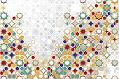 Arabic Ornamental Background In Color. Islamic Ornamental Colorful Detail Of Mosaic. Arabic, East, I poster
