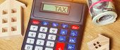 Inscription Tax On The Calculator. The Concept Of Paying Taxes For The Property. Liabilities Or Repa poster