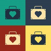 Color Suitcase For Travel With Heart Icon Isolated On Color Background. Honeymoon Symbol. Traveling  poster