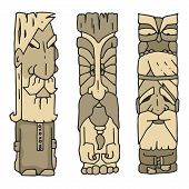 Ethnic Sculptures. Set Of Ancient Old Men With A Beard Of Sculptures For The Design Of Wood Or Stone poster