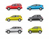 stock photo of car carrier  - Cars icons set isolated on white background no transparencies - JPG