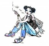 Girl angel hippie smoking cigarette - hand drawn illustration