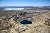 image of mines  - Aerial view of Open Pit Copper Mine near Green Valley Arizona - JPG