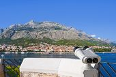 Binoculars And Makarska At Croatia