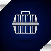 Silver Pet Carry Case Icon Isolated On Dark Blue Background. Carrier For Animals, Dog And Cat. Conta poster