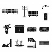 Vector Illustration Of Climate And Alternative Symbol. Collection Of Climate And Nature Stock Symbol poster
