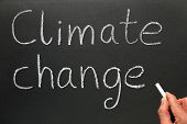 A Teacher Writing Climate Change On A Blackboard.