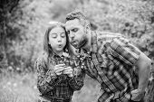 Biggest Pollen Allergy Questions. Father Little Girl Enjoy Summertime. Dad And Daughter Blowing Dand poster