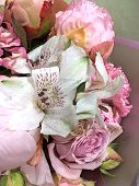 Peony Flowers With Pink And Red Petals, Pink Dianthus, Roses And White Alstroemeria Flowers In A Bou poster
