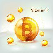 Vitamin B Gold Shining Icon. Ascorbic Acid. Shining Golden Substance Drop. Nutrition Skin Care. Vect poster