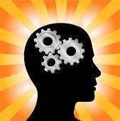 Gear Head Man Profile Thinking On Yellow Orange Rays.Eps