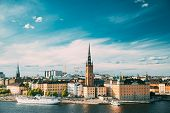 Stockholm, Sweden. Gamla Stan Is Famous Popular Place And Destination Scenic. Riddarholm Church In S poster