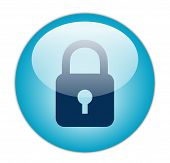 The Glassy Aqua Blue Lock Icon Button