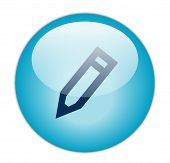 The Glassy Aqua Blue Edit Icon Button