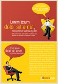 Yellow and red template for advertising brochure with business people
