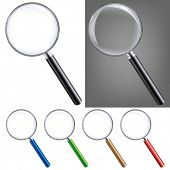 Magnifying Glass Big Set, Isolated On White Background, With Gradient Mesh, Vector Illustration