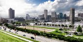 Baltimore Maryland Inner Harbor Skyline And Park